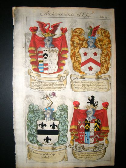 Guillim Heraldry 1679 H/Col Roger James of Surrey, Charles Beauvoir, John Evance | Albion Prints
